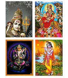 Shiva, Vaishno Devi, Krishna, Ganesha - Set of 4 Posters