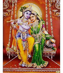 Radha Krishna on a Swing - Glitter Poster