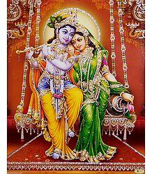 Radha Krishna on a Swing - Glitter Poster