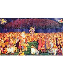 Krishna Lifts Giri Govardhan to Protect the People of Vrindavan from the Torrential Rain