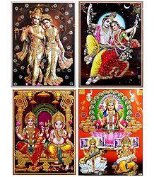 Radha Krishna, Lakshmi, Saraswati and Ganesha - Set of 4 Glitter Poster