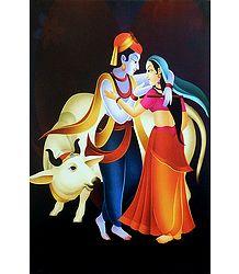 Radha Krishna in a Romantic Mood - Unframed Poster