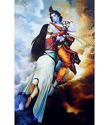 Love of Radha Krishna - Unframed Poster
