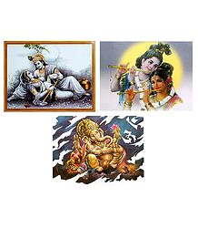 Radha Krishna and Ganesha - Set of 3 Posters