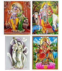 Radha Krishna and Vaishno Devi - Set of 4 Posters
