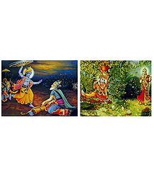 Radha Krishna and Krishna Bhishma - Set of 2 Posters