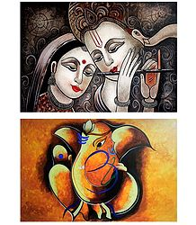 Radha Krishna and Ganesha - Set of 2 Posters