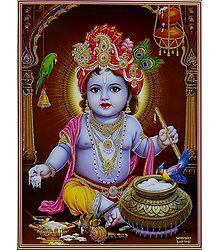 Makhan Chor Krishna - Glitter Poster
