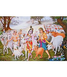 Krishna and Balaram with other Cowherds - Poster