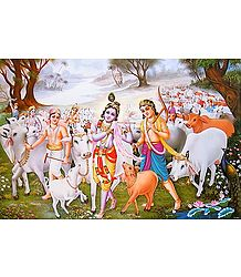 Krishna and Balaram with other Cowherds