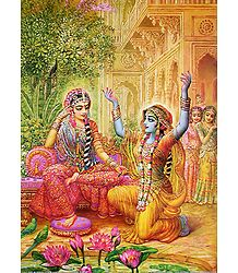 Krishna in Disguise Placates Abhimanini Radha