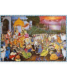 Krishna Leaving Vrindavan - Poster