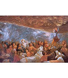 Krishna Lifts Giri Govardhan