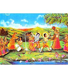 Playfully Mischeivious Krishna and Balaram with Gopinis