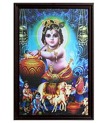 Framed Picture of Makhan Chor Krishna