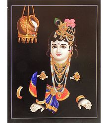 Krishna Prying for Butter - Poster