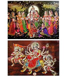 Radha Krishna and Bhagawati - Set of 2 Glitter Posters