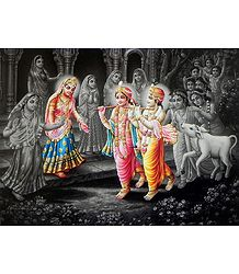 Radha, Krishna and Balarama with Gopis and Gopinis of Vrindavana