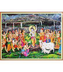 Krishna Lifts Giri Govardhan - Poster