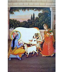 Krishna with Mother Yashoda - Poster