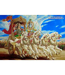 Krishna and Arjuna on Chariot during Kurukshetra War - Poster