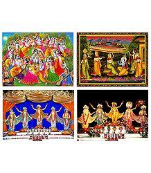 Set of 4 Krishna and Chaitanyadev Posters
