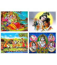Set of 4 Radha Krishna Posters