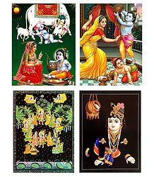 Set of 4 Krishna Posters