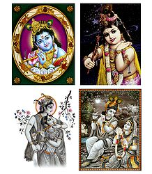 Krishna and Radha Krishna - Set of 4 Posters