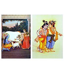 Krishna with Yashoda and Krishna Balaram - Set of 2 Posters