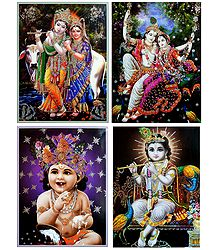Radha Krishna and Young Krishna - Set of 4 Glitter Posters