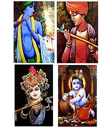 Lord Krishna - Set of 4 Posters