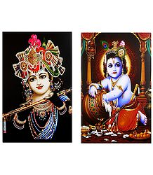 Murlidhar Krishna and Makhan Chor Krishna - Set of 2 Posters