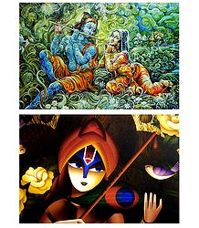 Radha Krishna and Meerabai - Set of 2 Posters