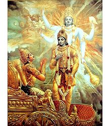 Krishna Showing Vishvarupa to Arjuna before kurukshetra War - Poster