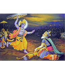 Krishna Lifts Chariot Wheel to Kill Bhishma