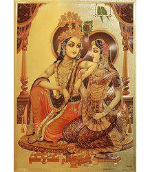 Radha Krishna - Golden Metallic Poster