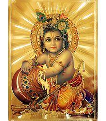 Makhan Chor Krishna - Golden Metallic Poster