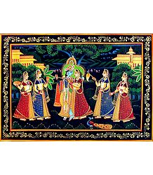 Radha Krishna with Gopinis - Photographic Print