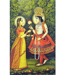 Krishna Offering Flower to Radha