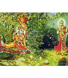 Radha Mesmerised by the Sound of Krishna's Flute