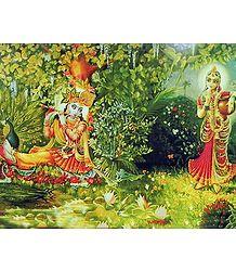 Radha Listening Krishna's Flute - Poster