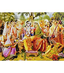 Radha Krishna with Gopinis - Poster