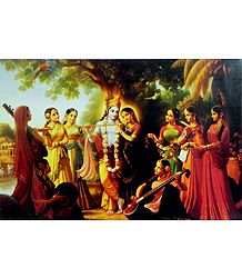 Gopinis Entertain Radha Krishna Picture