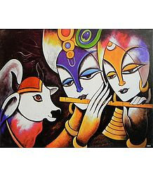 Radha Krishna with Cow