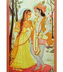 A Loving Moment Between Radha and Krishna