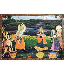 Krishna Playing Holi with Gopinis - Poster