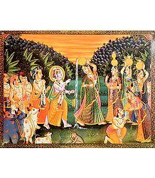 Lord Krishna Playfully Teasing Radha