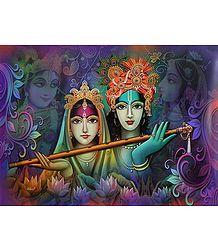 Radha Krishna Holding Flute - Poster