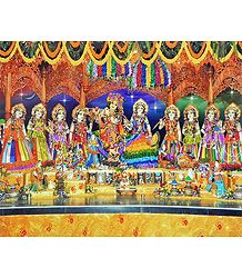 Radha Krishna with Eight Gopinis